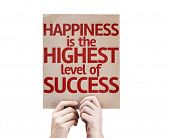 Happiness is the Highest Level Of Success card isolated on white background