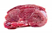 Raw Beef Meat Cutlets On White Background