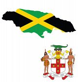 picture of jamaican flag  - Flag and coat of arms of Jamaica overlaid on outline map isolated on white background - JPG