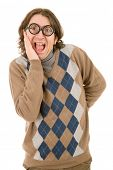 geek man isolated on white background
