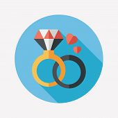 Valentine's Day Diamond Ring Flat Icon With Long Shadow,eps10