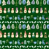 stock photo of rabbit year  - Cute seamless christmas pattern with holiday elements - JPG