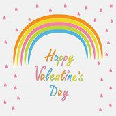 Rainbow And Pink Heart Rain Flat Design Style. Happy Valentines Day Card