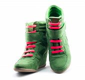 Green Shoes With Red Shoelaces