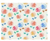 watercolor pattern for print with rose