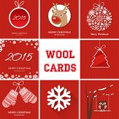 Christmas cards set with different symbols on red knitted background. Vintage vector greeting cards set. Fir tree, reindeer, mittens, snowflake, owl, ball, tree, snow symbols.