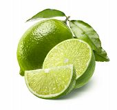 Whole Lime, Half And Quarter Slice Isolated On White