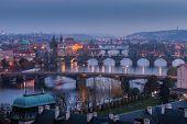 Prague Bridges At Sunset