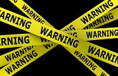 Warning Tape Isolated On Black Background