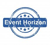 Event Horizon business concept stamp with stars isolated on a white background.