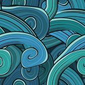 Seamless abstract hand drawn waves pattern. Wavy background. Oce
