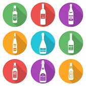 flat style white silhouettes alcohol bottles icons set