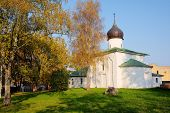 image of a Church of the Assumption in the fall, Pskov, Russia