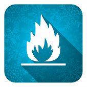 flame flat icon, christmas button
