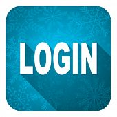 login flat icon, christmas button