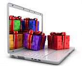 Laptop And Many Gifts