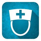 nurse flat icon, christmas button, hospital sign