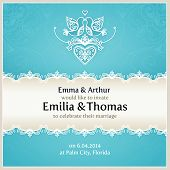 pic of lace  - Blue wedding invitation design template with doves - JPG