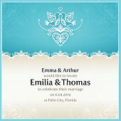 picture of blue  - Blue wedding invitation design template with doves - JPG