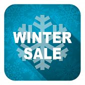 winter sale flat icon, christmas button