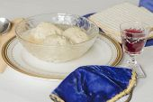 foto of passover  - Traditional passover matzoh ball soup with unleavened bread and wine - JPG
