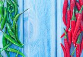 stock photo of chillies  - chilli pepper on the blue background fresh chilli pepper - JPG