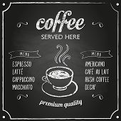 image of sign board  - Retro coffee typography sign on a chalkboard - JPG