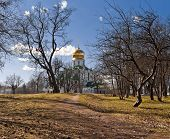 picture of cupola  - Church with golden cupola in early spring - JPG