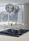 image of light fixture  - Modern Dining Room with White Table and Globe Light Fixtures with View of Snowy Mountains Through Windows - JPG