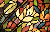 foto of church interior  - Glass art with backlit pattern in vibrant colors - JPG