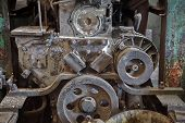 picture of machinery  - Old machinery in an abandoned factory - JPG