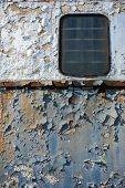 stock photo of passenger train  - Old and abandoned passenger train wagon detail - JPG