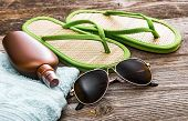 stock photo of suntanning  - Beach accessories - JPG