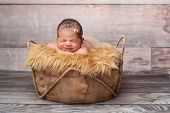 pic of headband  - Smiling eight day old newborn baby girl - JPG