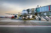 picture of dubai  - Docked jet aircraft in Dubai international airport - JPG