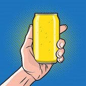 foto of cans  - Fresh Drink Can in Hand - JPG