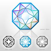 image of octagon  - Faceted gemstone in octagonal shape - JPG
