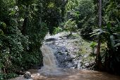 stock photo of langkawi  - Waterfall and green rainforest in Langkawi Malaysia - JPG