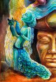 stock photo of spirit  - A woman story teller with puppets and protective spirits fantasy imagination detailed colorful painting - JPG