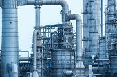 picture of chimney  - Industrial landscape with chimneys tank - JPG