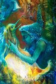 image of fairies  - fairy child and a phoenix bird fantasy imagination detailed colorful painting - JPG