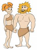 image of cave woman  - vector illustration of a prehistoric cave dweller couple - JPG