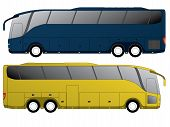 picture of motor-bus  - Tourist bus design with double axle in the back side view - JPG