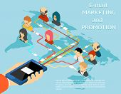 image of promoter  - Email marketing and promotion mobile app isometric 3d illustration - JPG
