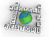 image of reuse recycle  - 3D render of earth day with recycle - JPG