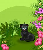 stock photo of panther  - Illustration of black panther in jungle landscape - JPG