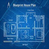 Постер, плакат: Blueprint house plan