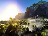 stock photo of rainforest  - Beautiful rainforest with palm trees - JPG