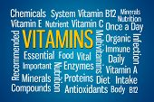 picture of b12  - Vitamins word cloud on blue background - JPG