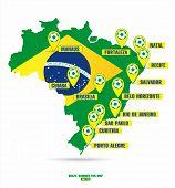 stock photo of carnival brazil  - Brazil map of soccer - JPG